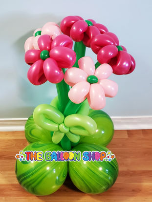 Picture of 5 Flowers Balloon Bouquet with a Bow - Balloon Centerpiece