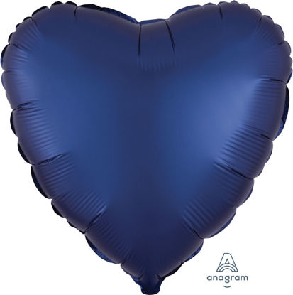 """Picture of 18"""" Satin Luxe Navy Blue Heart Foil Balloon (helium-filled)"""