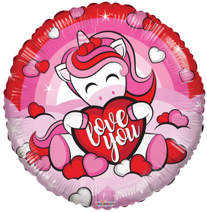 """Picture of 18"""" Love You! Unicorn with Heart - Foil Balloon  (helium-filled)"""