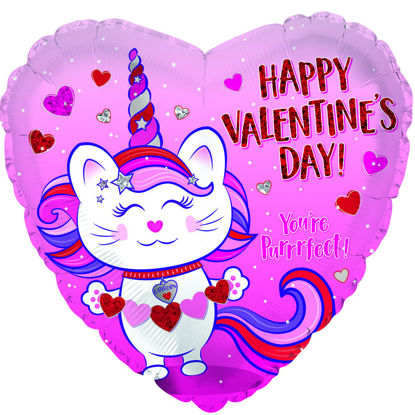 """Picture of 18"""" Happy Valentine's Day Caticorn - Heart Foil Balloon  (helium-filled)"""